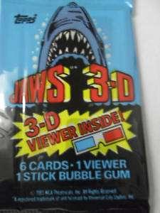Unopened Pack Jaws 3 D Movie Cards Roy Scheider Shark
