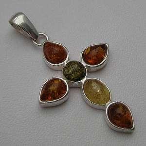 Multicolor Baltic Amber Silver Jewelry Pendant Orthodox Christian