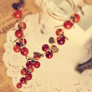Simitter new fashion thai style sweet cherries sweater chain necklace