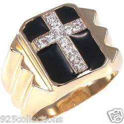 STUD CLEAR APRIL BIRTHSTONE CROSS BLACK ENAMEL CZ MEN RING JEWELRY