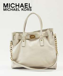 Michael Kors Hamilton Leather Large N/S Tote Bag Vanilla Ivory Handbag