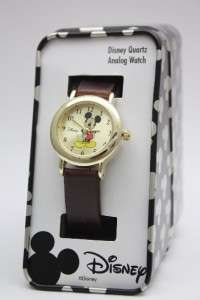 Mouse Classic Collectible Gold Tone Brown Leather Band MCK614