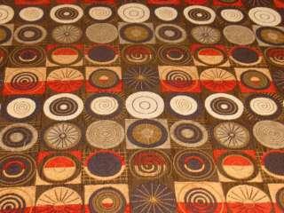 Modern Retro Squares Circles Designer Upholstery Fabric