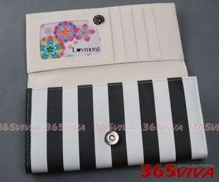 B612 Black White Stripe Lady Long Wallet Purse Coin Bag