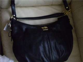 COACH MADISON LEATHER CONVERTIBLE HOBO, Black   15959 NEW