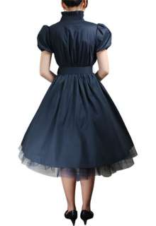 Belted Black or Red 50s Rockabilly Swing Pinup Dress