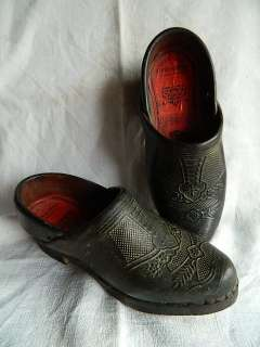 HANDMADE WOMAN GALOSHES SHOES WOOD LEATHER ORIGINAL LABEL