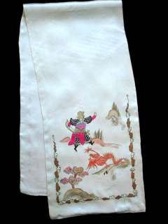 Painted Scarf 1920'S 5 Toes Dragon & Warrior Motif Signed