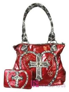 Patent Shiny LOVE Rhinestone CROSS BLING Tote Purse Handbag Wallet SET