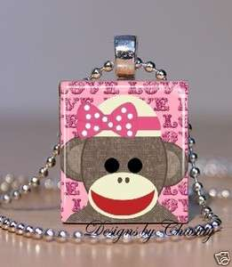 Girlie Pink Sock Monkey Scrabble Charm Pendant Necklace A2