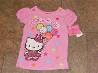 NWT Princess Balloons Hello Kitty T Shirt Top 4 5 6 6X