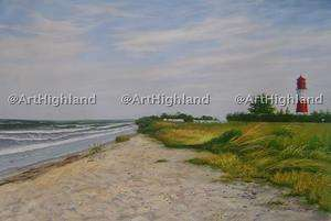 Original Beach Seascape Oil Paintings Canvas Lighthouse