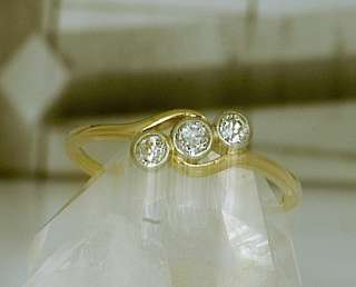 Original Art Deco Ring 585 3 Altschliff Diamanten
