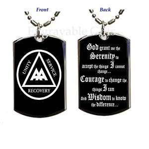 AA Alcoholic Serenity Prayer   Dog Tag Pendant Necklace
