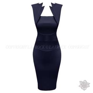 NAVY BLUE SLEEVELESS FITTED VICTORIA GALAXY WIGGLE PENCIL EVENING
