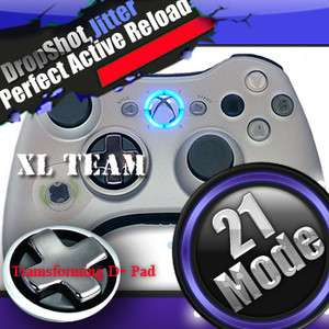 XBOX 360 ACTIVE RELOAD RAPID FIRE MODDED SILVER CONTROLLER GEARS OF