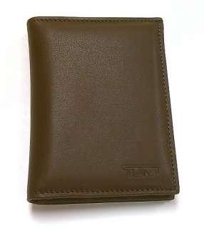 Tumi Mens Meridian Dark Brown Leather L Fold Saddle Brown Billfold