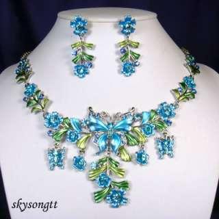 Blue Enamel Crystal Butterfly Floral Necklace SetS1618N