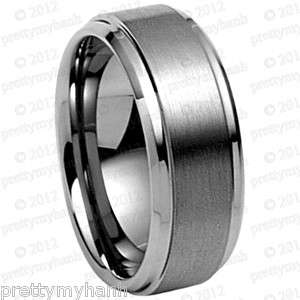 Mens Tungsten Carbide Ring ** Wedding Band ** 8mm Comfort Fit Sz 7 14