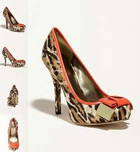 Natural Multi GREGI Leopard Print w/ Bow Tie Pumps Shoes Heels