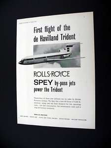 Rolls Royce Spey Engine BEA Trident Airplane 1962 Ad