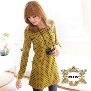 New Women Sweet Dots Prints Knitting Winter Long Top / Dress *LOOK