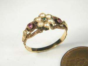 LOVELY ANTIQUE ENGLISH PEARL RUBY EMERALD RING c1840