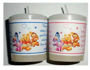 WINNIE THE POOH BABY SHOWER FAVORS VOTIVE CANDLE LABELS