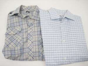 LOT 2 BANANA REPUBLIC Mens Snap Button Down Shirts SzXL