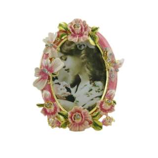 pink rose butterfly picture photo frame oval bejeweled enameled
