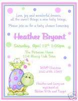 12 Sweet Turtle and Frog ~ Baby Shower Invitations~NEW