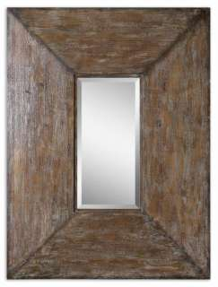 Distressed Brown Gray Wood Framed Rectangle Wall Mirror