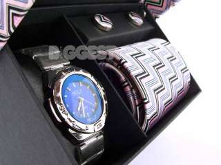 Mens Gents Fashion Watch, Tie & Cufflink Gift Set Pink