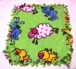 HANDMADE BABY MINI FLEECE TIED SECURITY BLANKET   FARM / BARNYARD