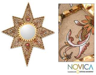 LOVE STAR~Reverse Painted Glass MIRROR~Peru Art NOVICA