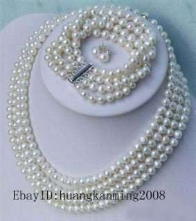 rows white pearl necklace bracelet earrings and gift
