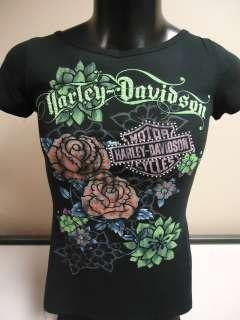 Womens Harley Davidson Floral Bling Black Tee Shirt. 302913670