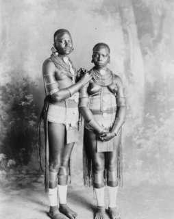 1800s photo Two Wakamba girls, full length portrai