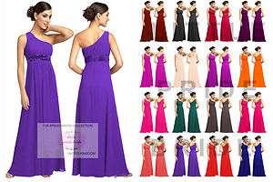 Coral One Shoulder Chiffon Party Evening Wedding Bridesmaids Dress 8