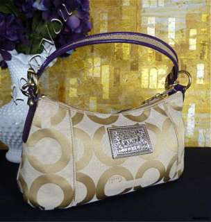 NWT RARE COACH POPPY POP C APPLIQUE KHAKI GOLD PURPLE SEXY SIGNATURE