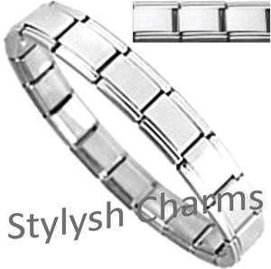 SILVER TONE SHINY POLISHED Italian Charm Starter Bracelet 9mm Links