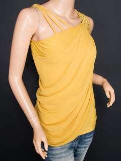 Chiffon 2 Layers Ruched Beads Sleeveless Shirt Top S