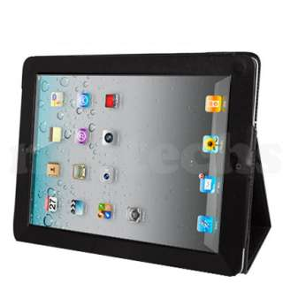 Black Flip Leather Wallet Case Cover Stand Apple iPad 2