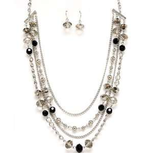 22 in Clear Glass Bead Earrings & Necklace Set Jewelry