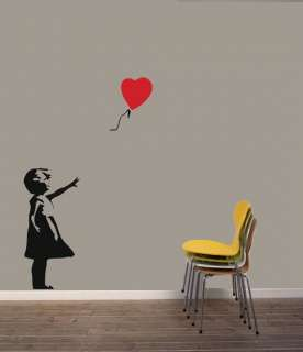Banksy Style Girl Red Balloon vinyl Wall Sticker/Decal