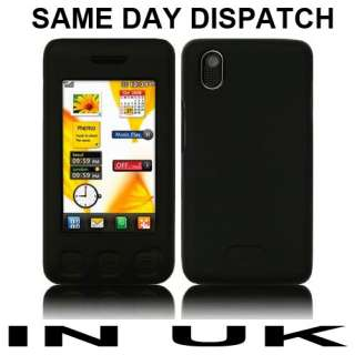 Black Silicone Case Skin Cover for LG Cookie KP500 UK