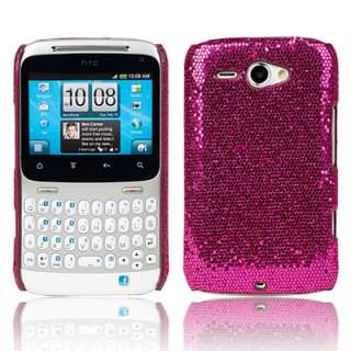 HOT PINK SPARKLE GLITTER HARD CASE COVER FOR HTC CHACHA