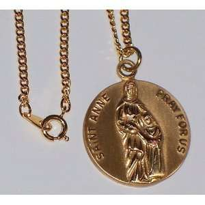 St. Anne 12K Gold filled medal Pendant 24 Necklace