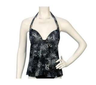 Maidenform Beach Custom Lift Floral Halterkini Top   QVC
