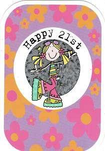 HAPPY 21ST BIRTHDAY GIRL GROOVY CHICK GREETING CARD